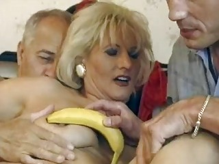 aged german blond receives double drilled
