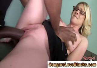 slutty interracial older whore receives a creampie