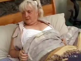 aged blondie receives full body massaged
