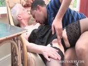 older doxy receives slit teased on a chair