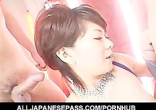 knob glad japanese playgirl eating cum