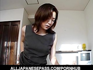 japanese mother i in an office costume sucks a